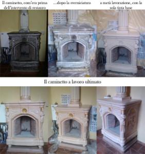 caminetto prima e dopo il restauro